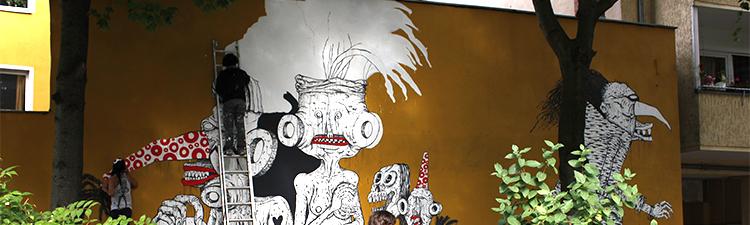 Wandmalerei in der Thomasstraße am Zugang zum Körnerpark